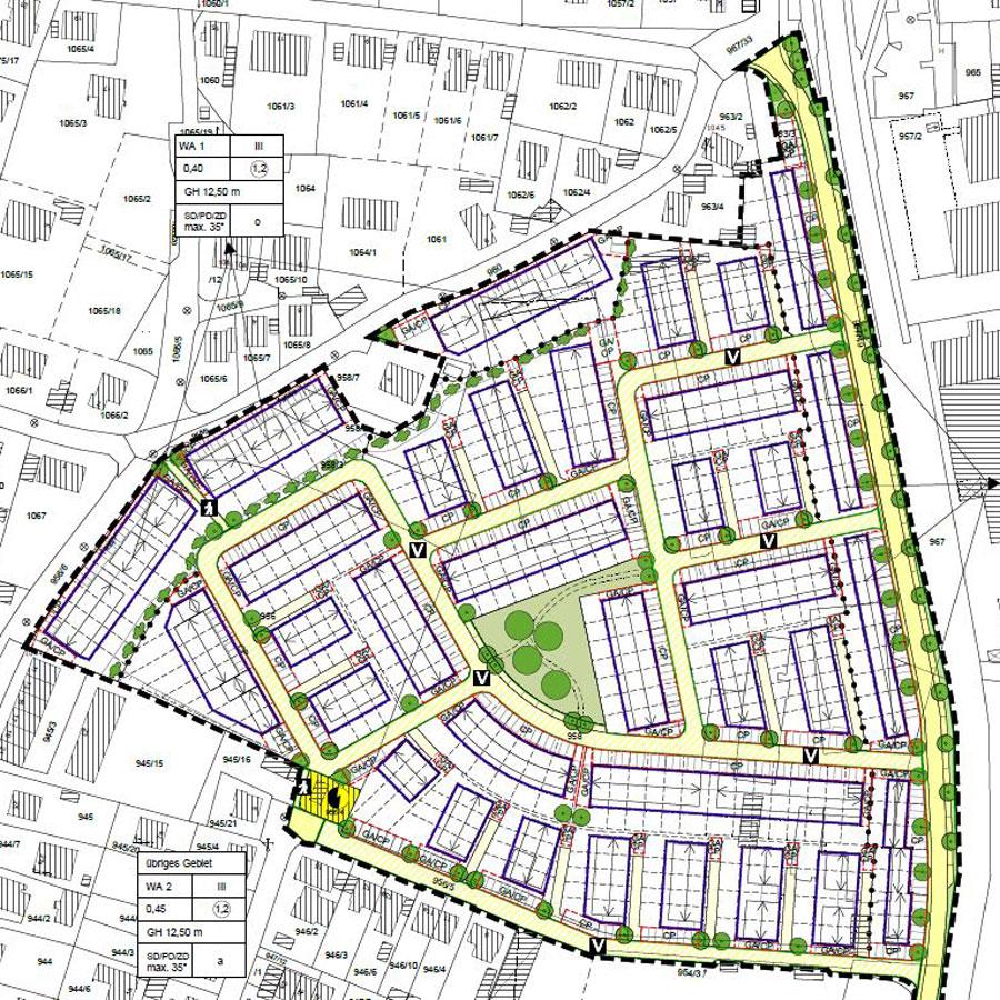 Rödl Geschichte: Entwicklung des Sunnyside in Heroldsberg mit ca. 200 Reihenhäusern